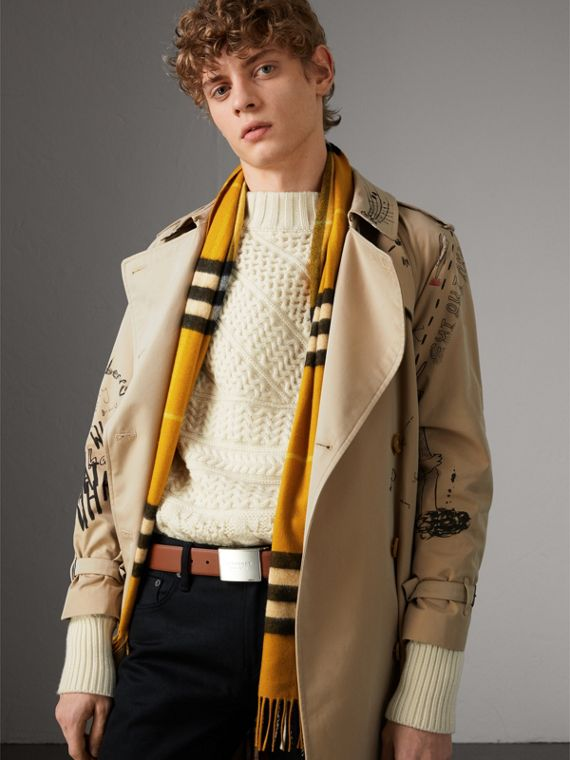 Brass Plaque Buckle Trench Leather Belt in Tan - Men | Burberry Hong Kong - cell image 2