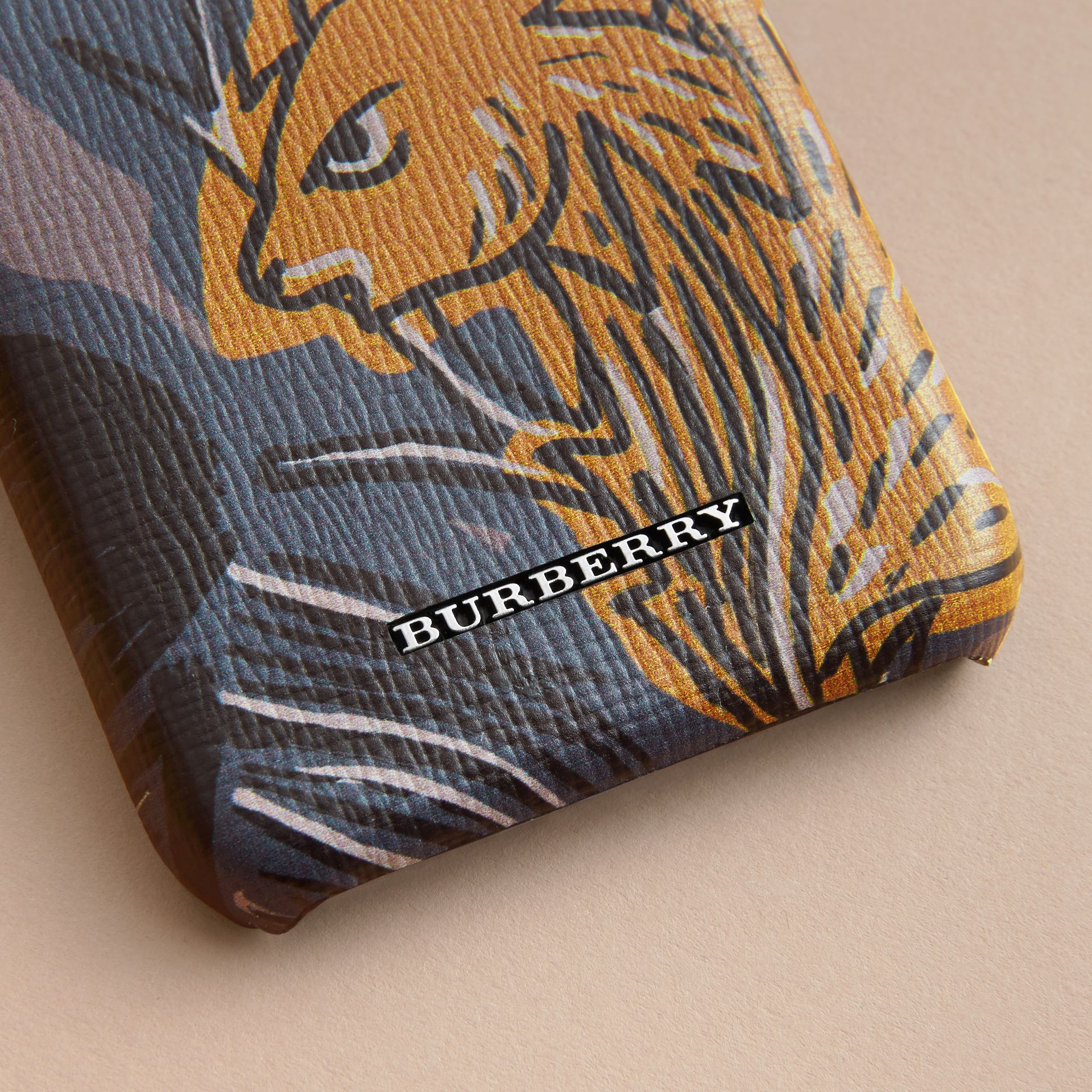 Beasts Print London Leather iPhone 7 Case in Navy Grey - Men | Burberry United Kingdom - gallery image 1