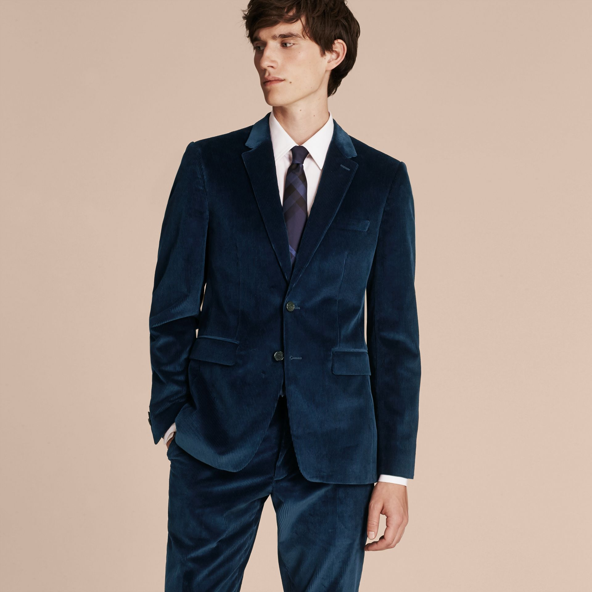 Navy Slim Fit Cotton Corduroy Jacket - gallery image 7