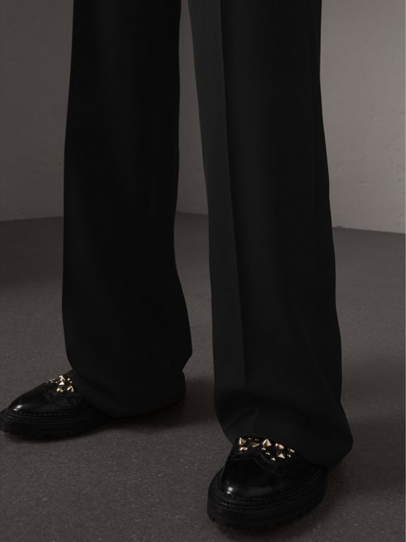 Wool Wide-leg Trousers in Black - Women | Burberry - cell image 1