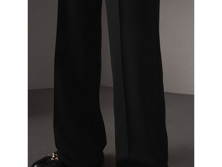 Wool Wide-leg Trousers in Black - Women | Burberry United States - cell image 1