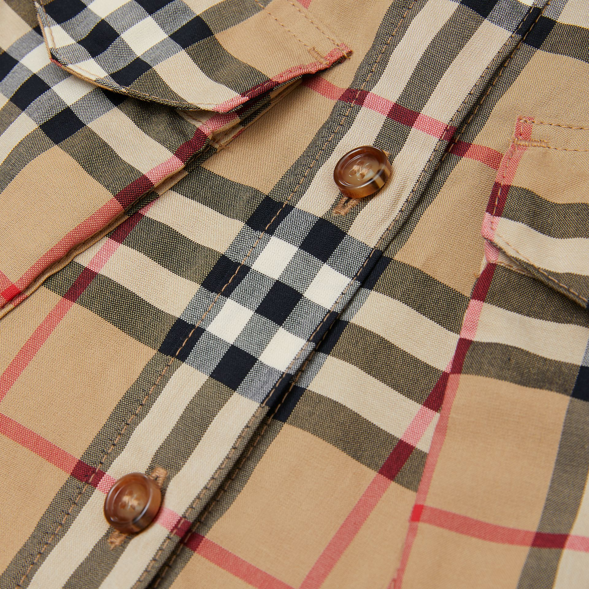 Vintage Check Cotton Shirt Dress in Archive Beige | Burberry Canada - gallery image 1
