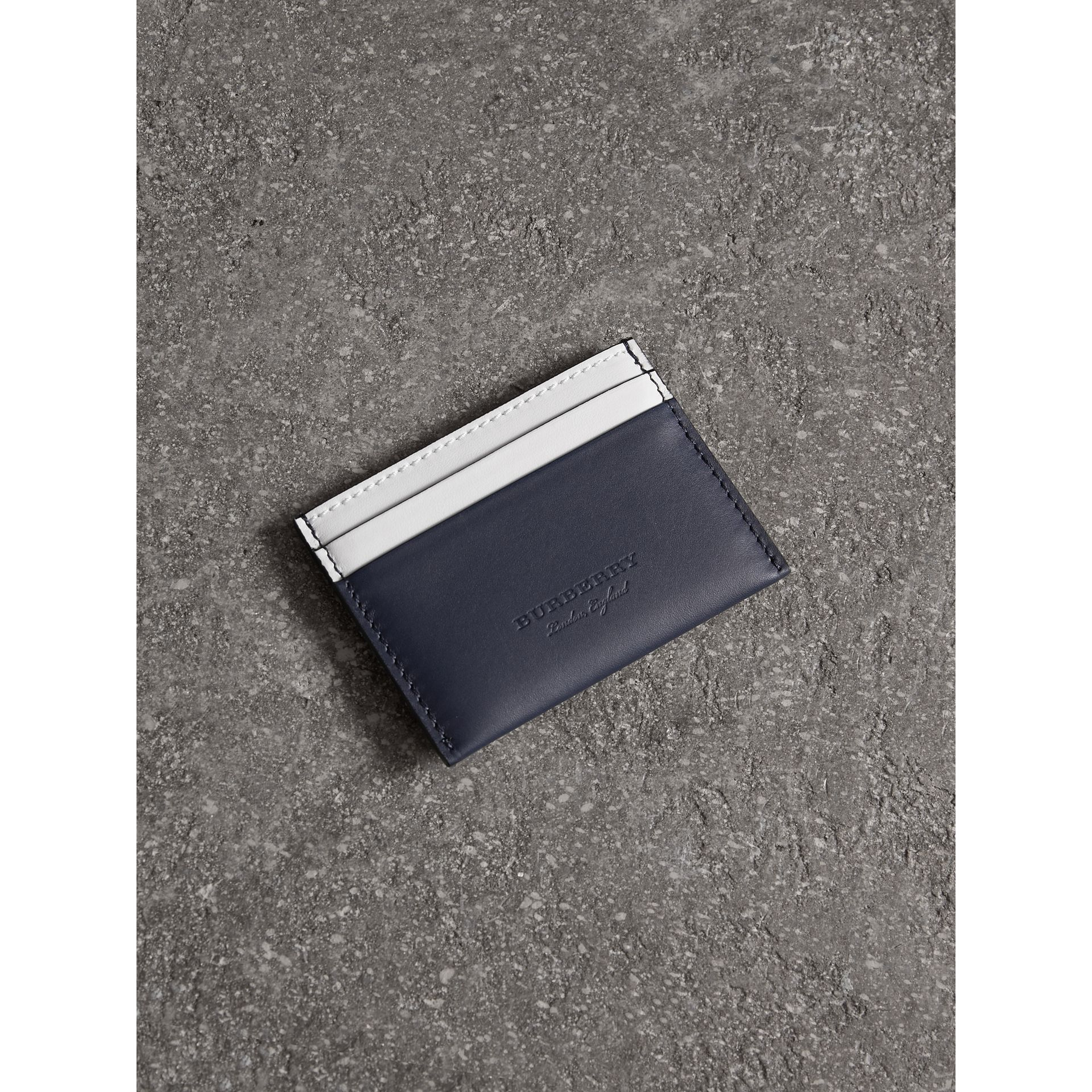 Two-tone Leather Card Case in Mid Indigo | Burberry - gallery image 4