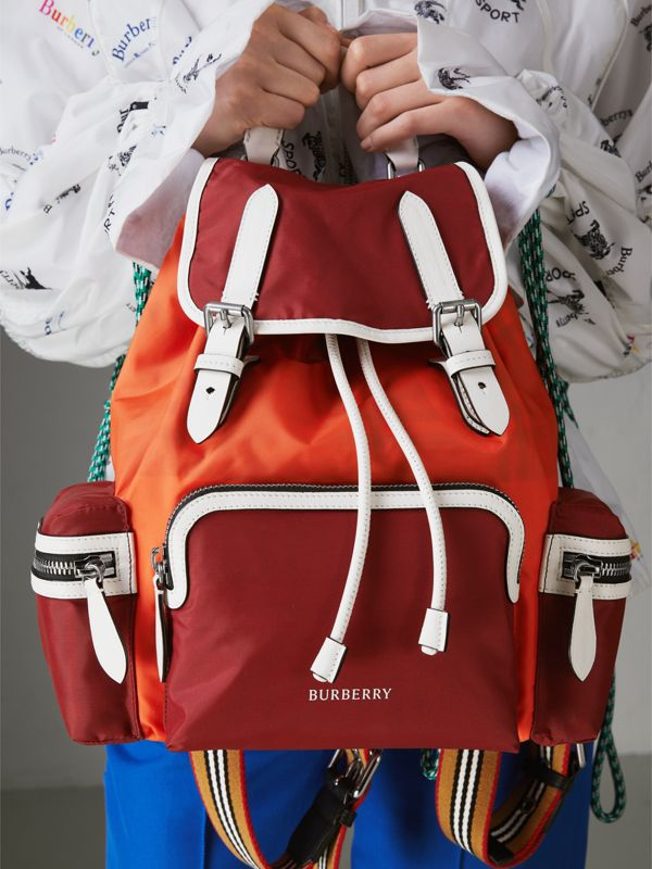 The Medium Rucksack in Colour Block Nylon and Leather in Parade Red - Women | Burberry United Kingdom - cell image 3