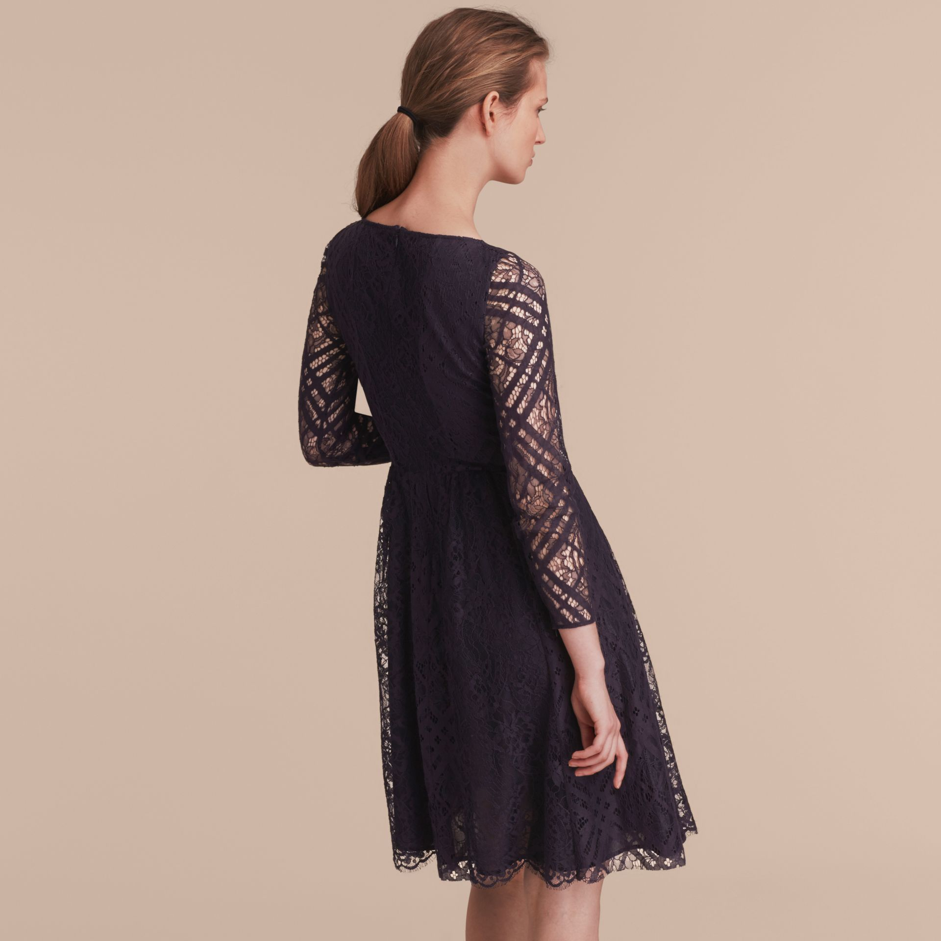 Check Lace Fit and Flare Dress in Navy - Women | Burberry - gallery image 3