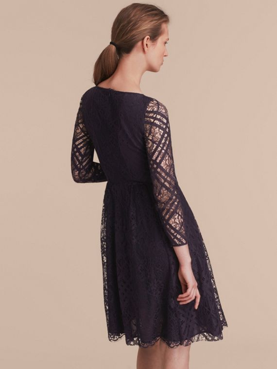 Check Lace Fit and Flare Dress in Navy - Women | Burberry - cell image 2