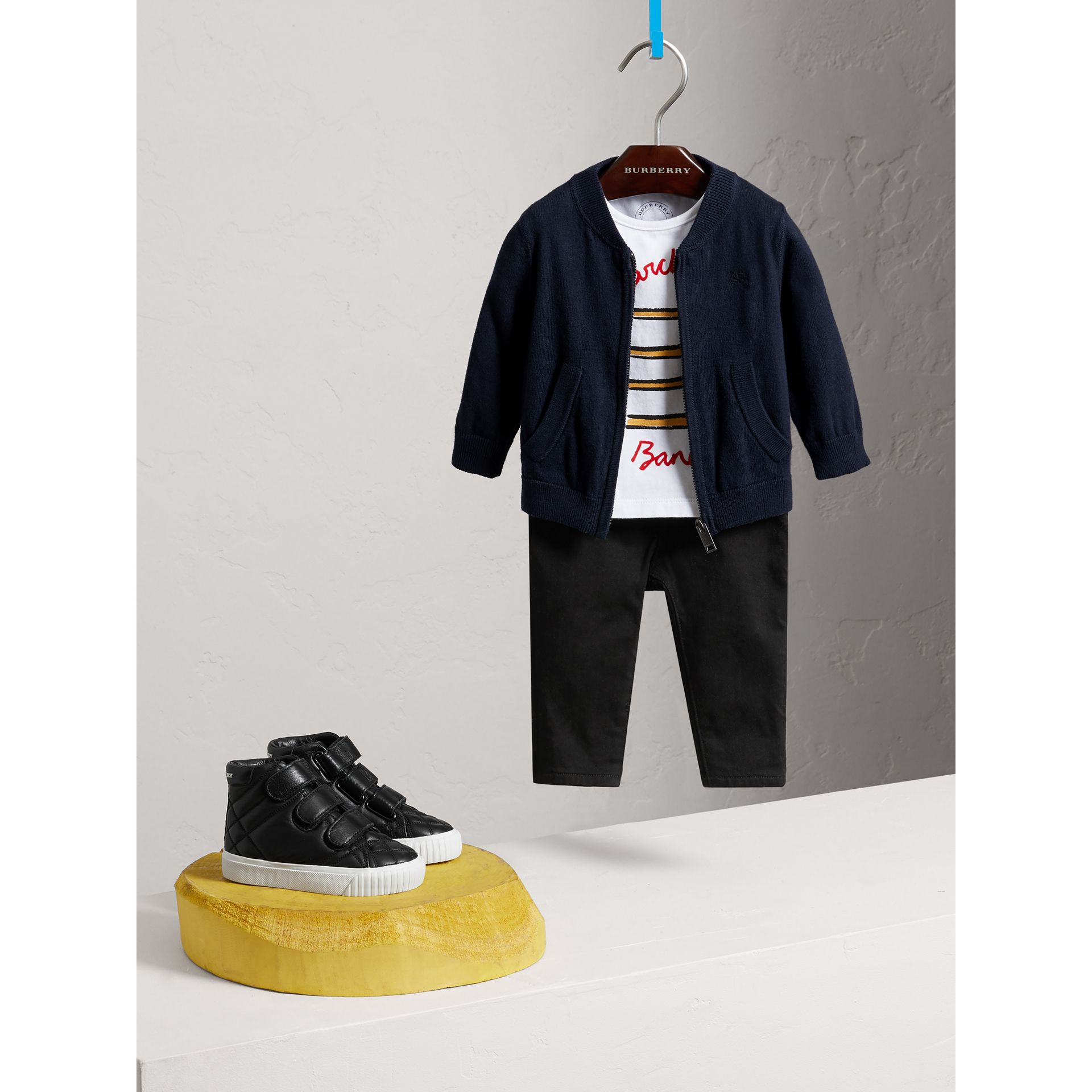 Check Detail Cotton Cardigan in Navy - Boy | Burberry - gallery image 1