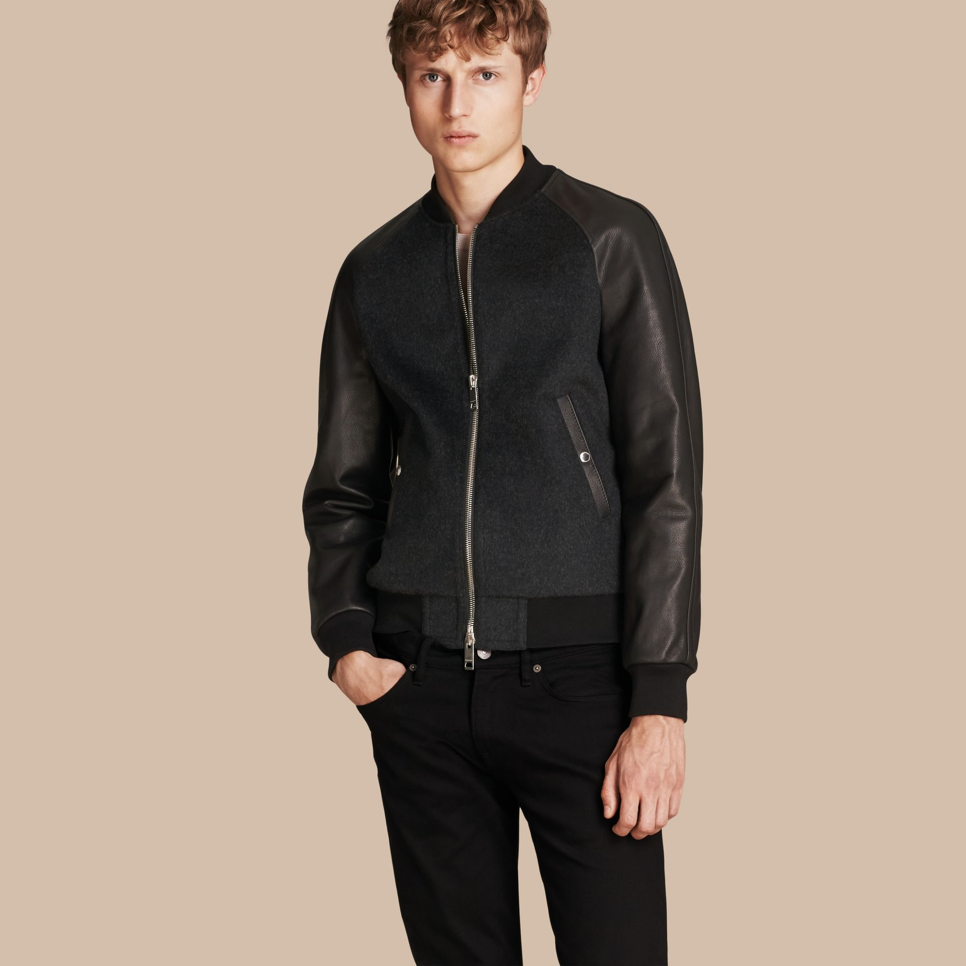 Dark grey melange Wool Cashmere Bomber Jacket with Leather Sleeves - gallery image 1