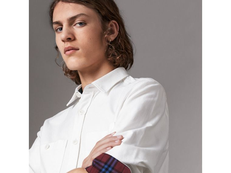 Cotton Oxford Shirt in White - Men | Burberry Australia - cell image 1