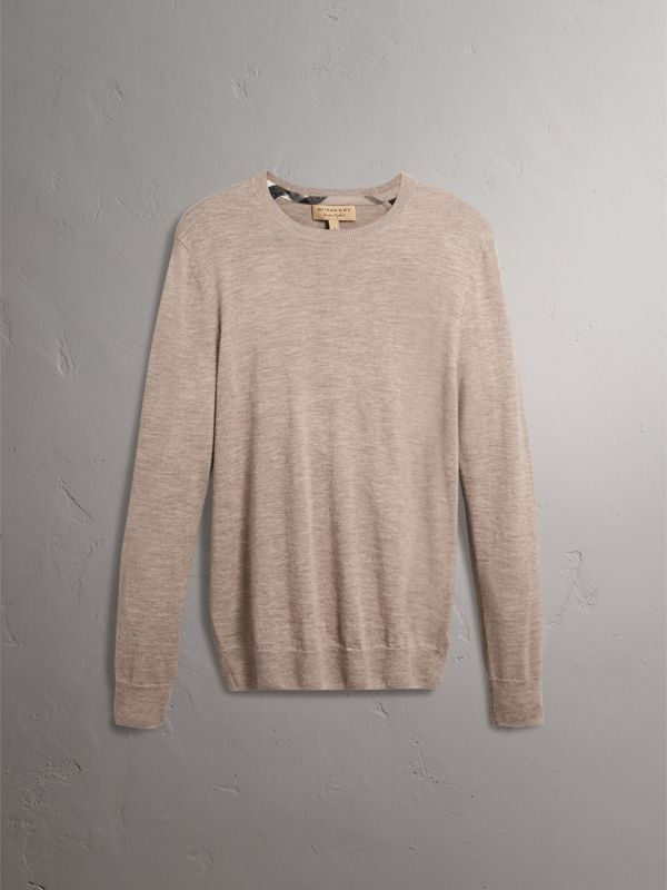 Check Jacquard Detail Cashmere Sweater in Camel Melange - Men | Burberry - cell image 3