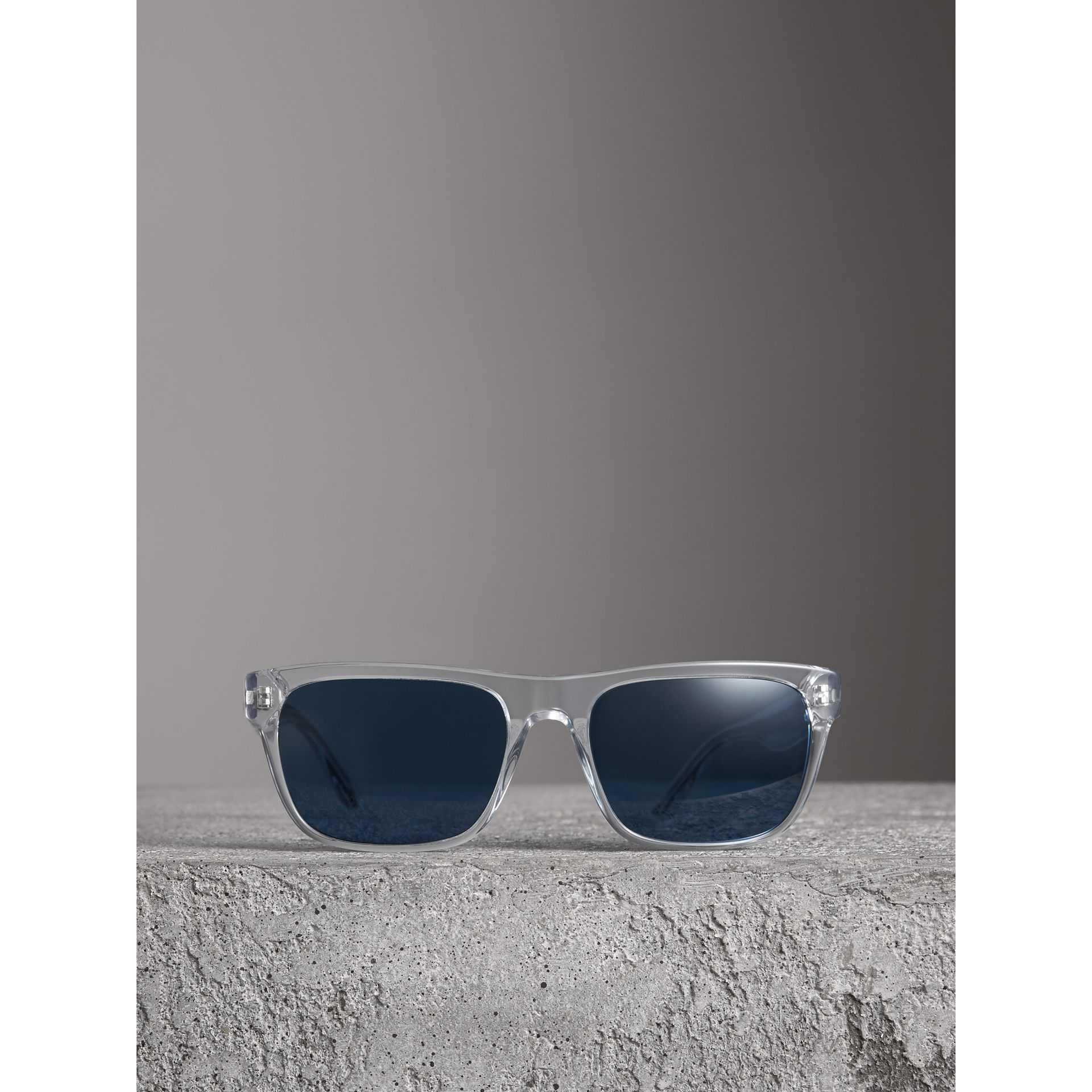 Doodle Square Frame Sunglasses in Crystal - Men | Burberry United States - gallery image 3