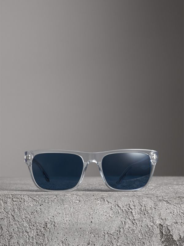 Doodle Square Frame Sunglasses in Crystal - Men | Burberry - cell image 3