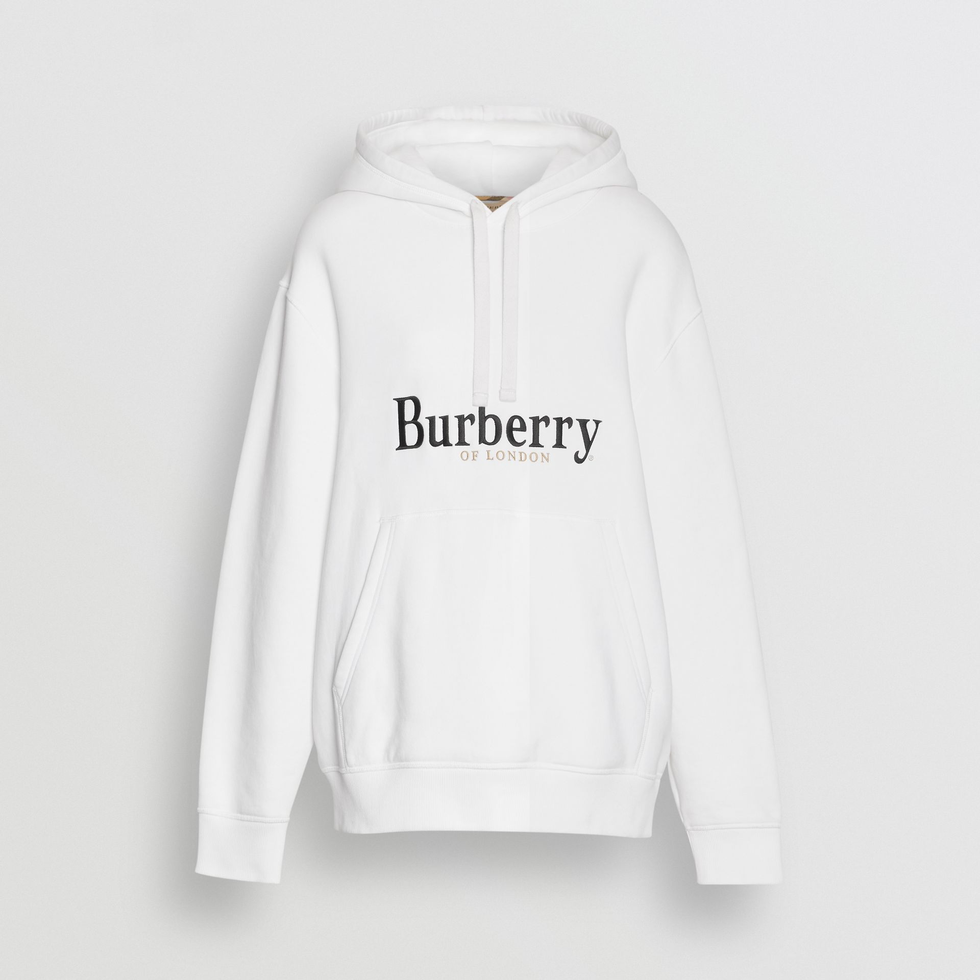 Embroidered Logo Jersey Hoodie in White - Women | Burberry - gallery image 3