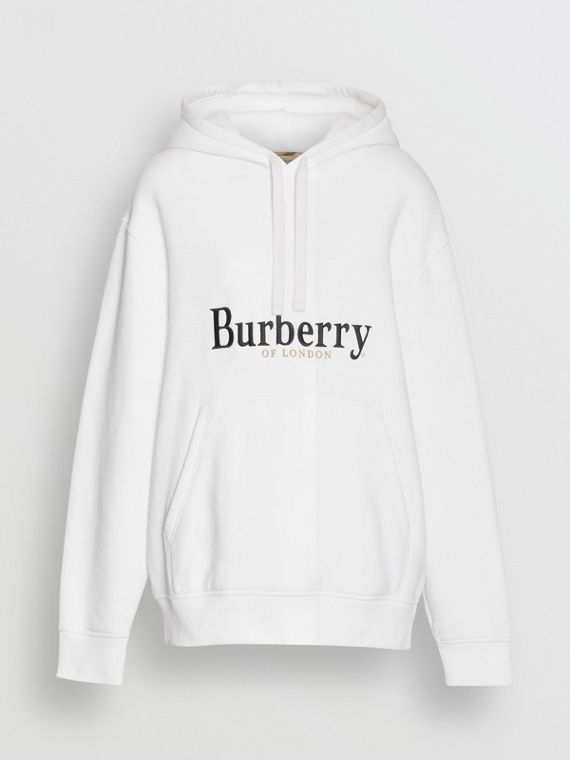 Embroidered Logo Jersey Hoodie in White