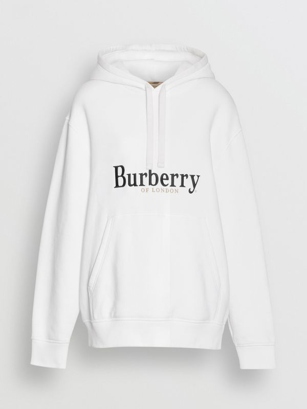Embroidered Logo Jersey Hoodie in White - Women | Burberry United Kingdom - cell image 3