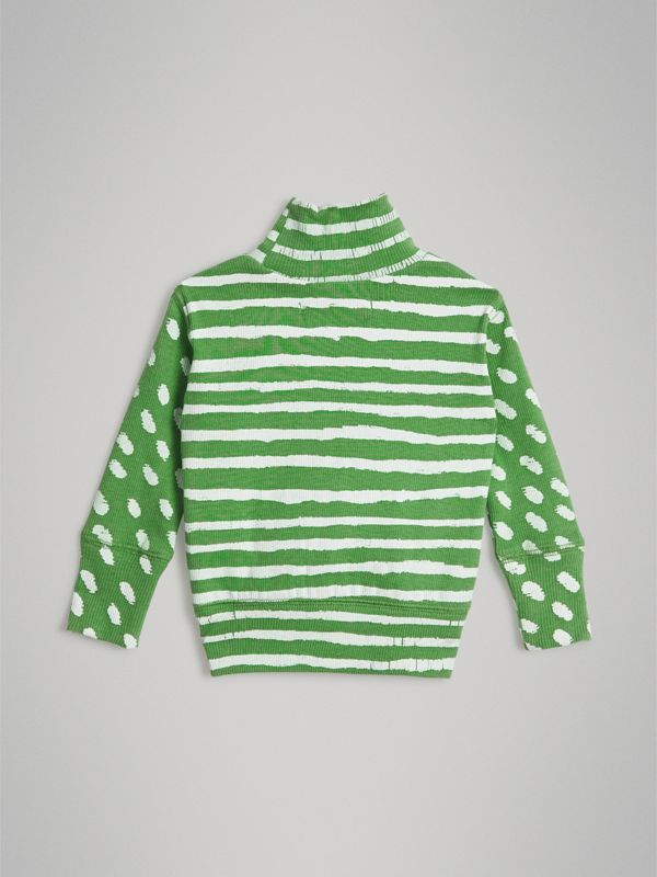 Roll-neck Spot and Stripe Print Cotton Top in Bright Green - Children | Burberry - cell image 3