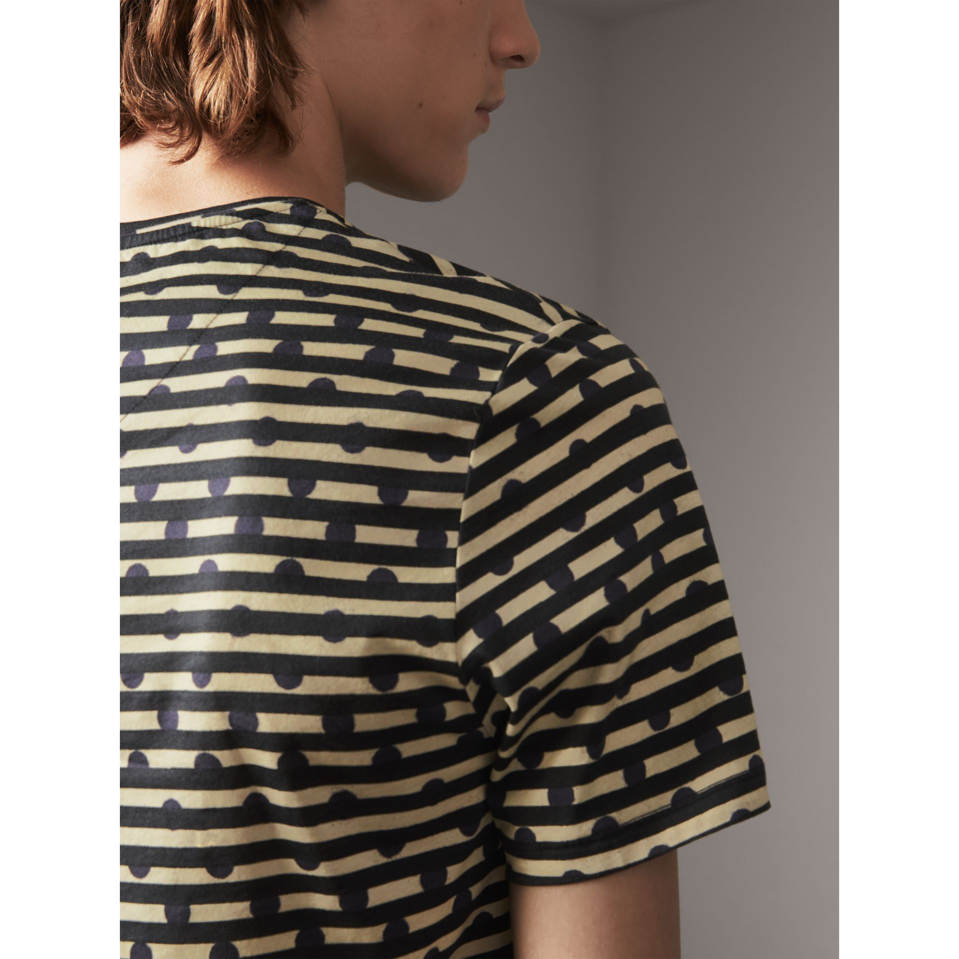 Spot and Stripe Print Cotton T-shirt in Navy - Men | Burberry - gallery image 1