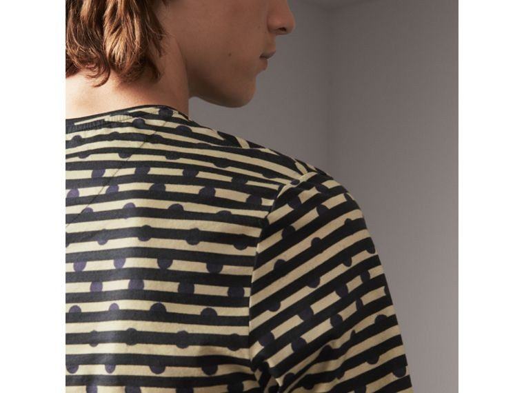 Spot and Stripe Print Cotton T-shirt in Navy - Men | Burberry - cell image 1