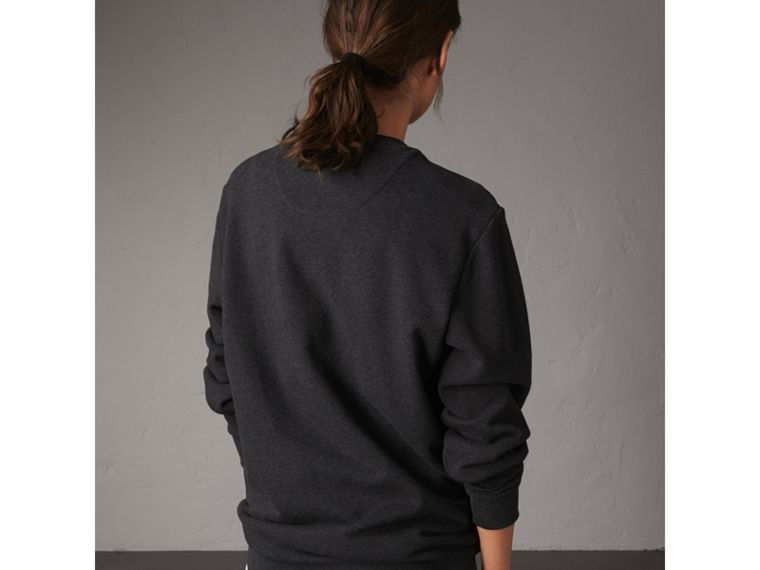 Unisex Beasts Print Silk Panel Cotton Sweatshirt in Charcoal Melange - Women | Burberry - cell image 4