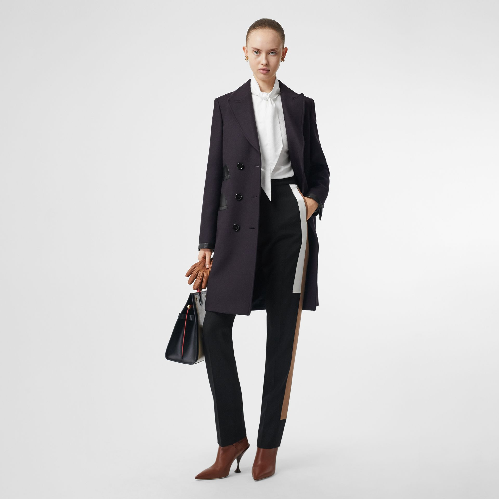 Lambskin Trim Wool Cashmere Blend Tailored Coat in Black Maroon - Women | Burberry United States - gallery image 0