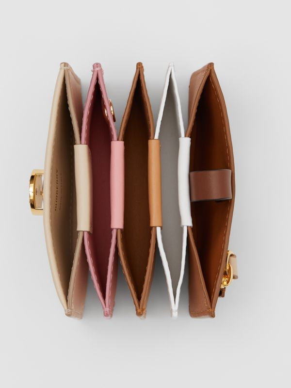 Monogram Motif Colour Block Leather Card Case in Tan/pale Copper/peony Pink - Women | Burberry - cell image 3