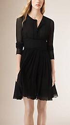 Crinkle-Finish Silk Dress