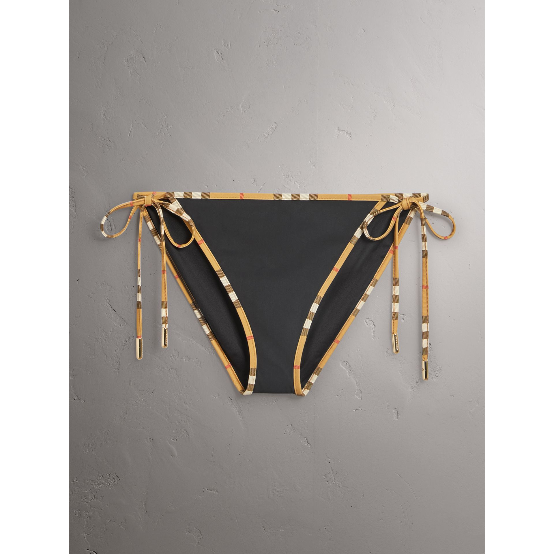 Vintage Check Trim Triangle Bikini in Black - Women | Burberry United States - gallery image 2