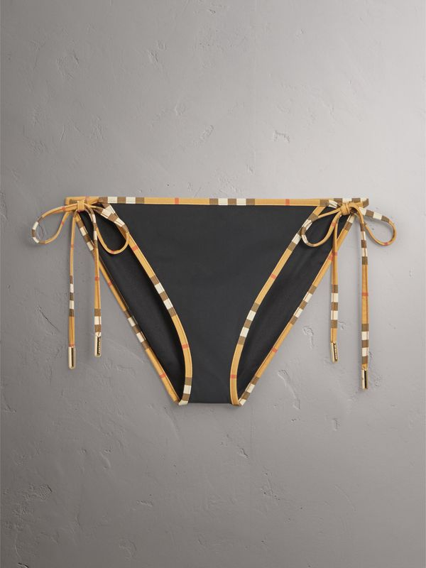 Vintage Check Trim Triangle Bikini in Black - Women | Burberry United Kingdom - cell image 2