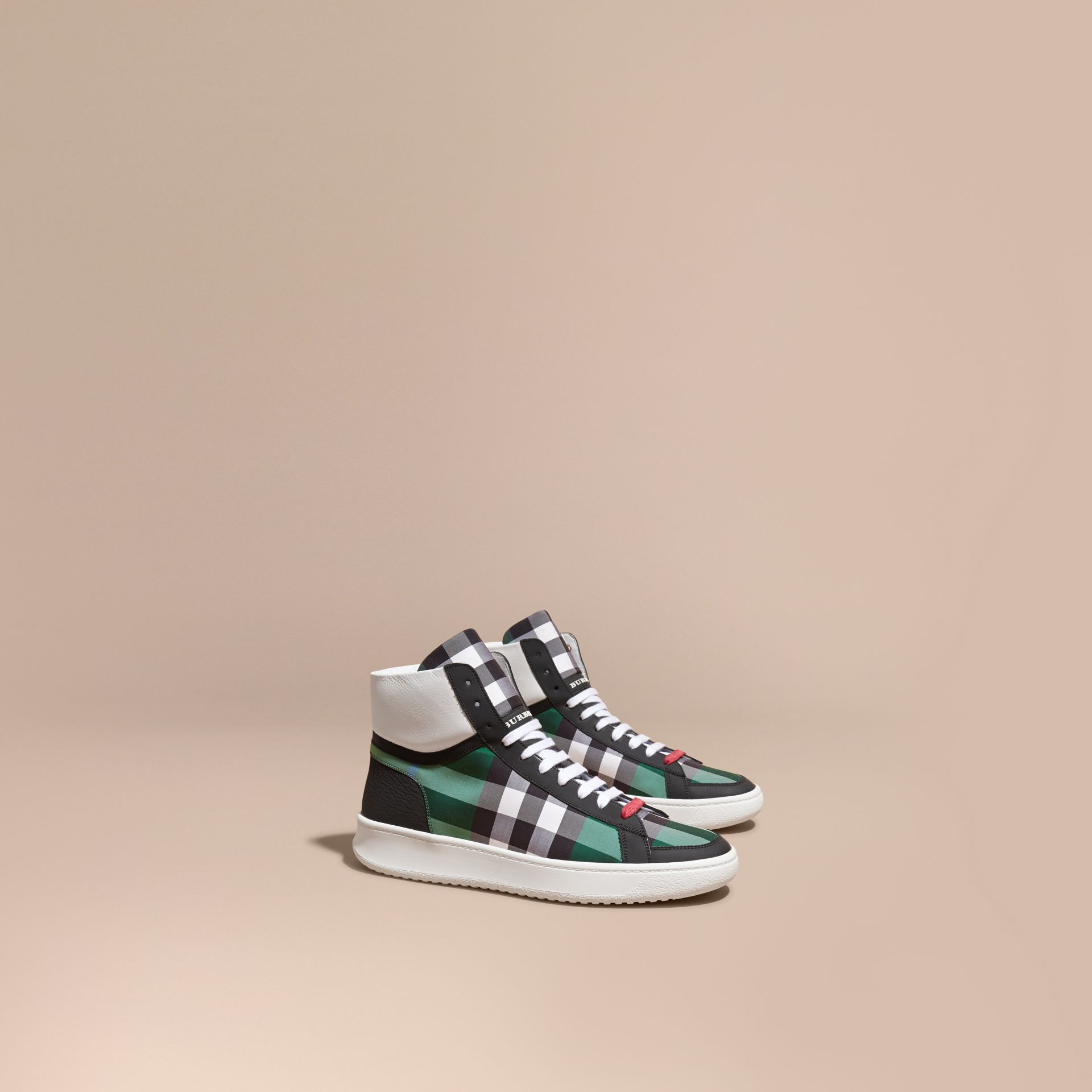 Leather and Check High-top Trainers Dark Pigment Green - gallery image 1