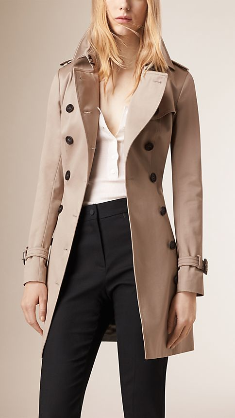 Stone Cotton Sateen Trench Coat - Image 2