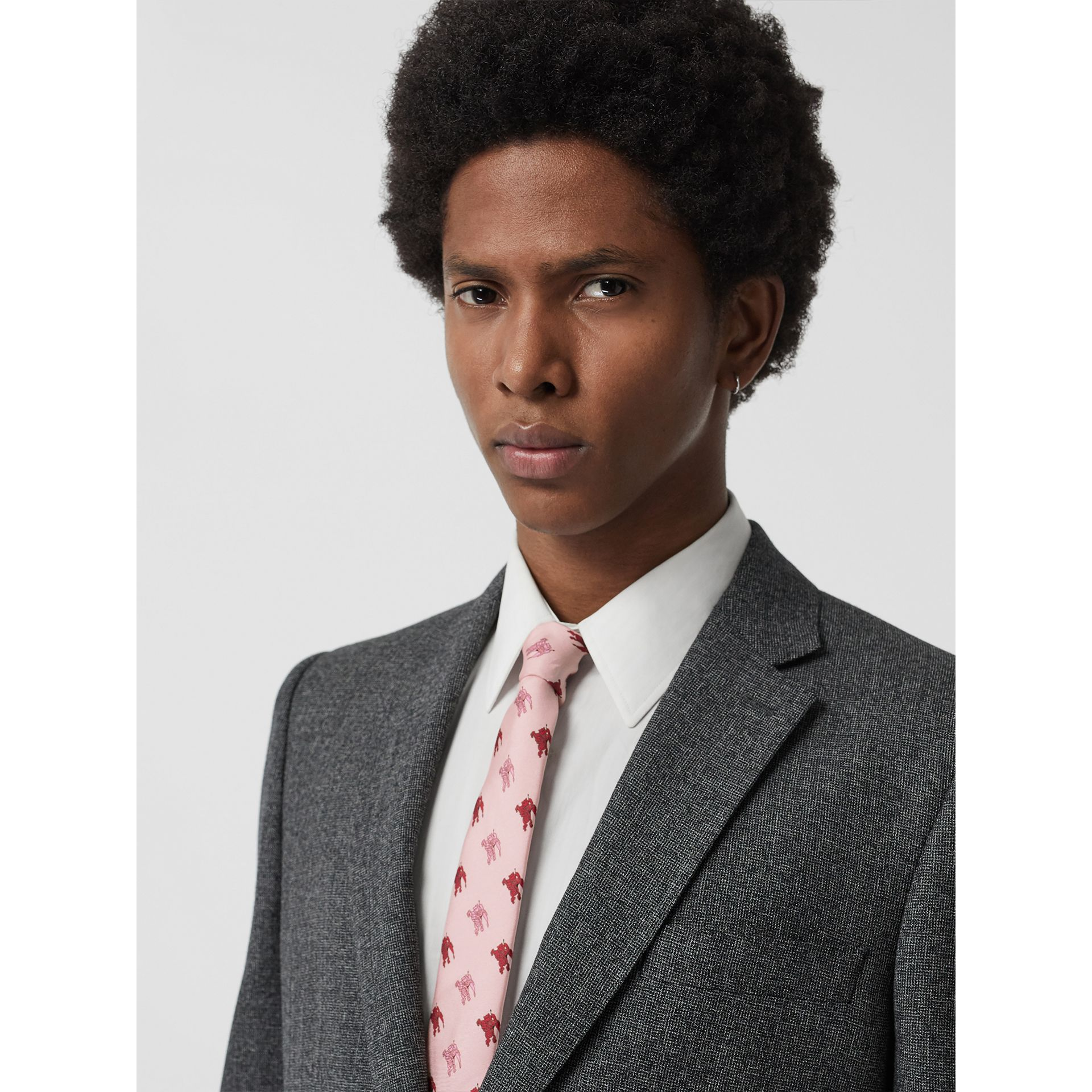 Slim Cut Equestrian Knight Print Silk Tie in Pale Rose Pink - Men | Burberry - gallery image 2
