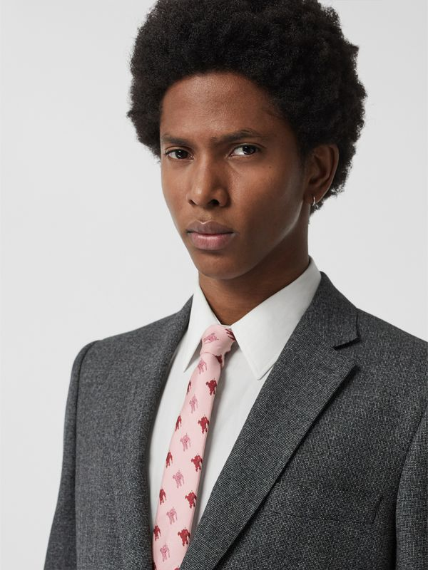 Slim Cut Equestrian Knight Print Silk Tie in Pale Rose Pink - Men | Burberry - cell image 2