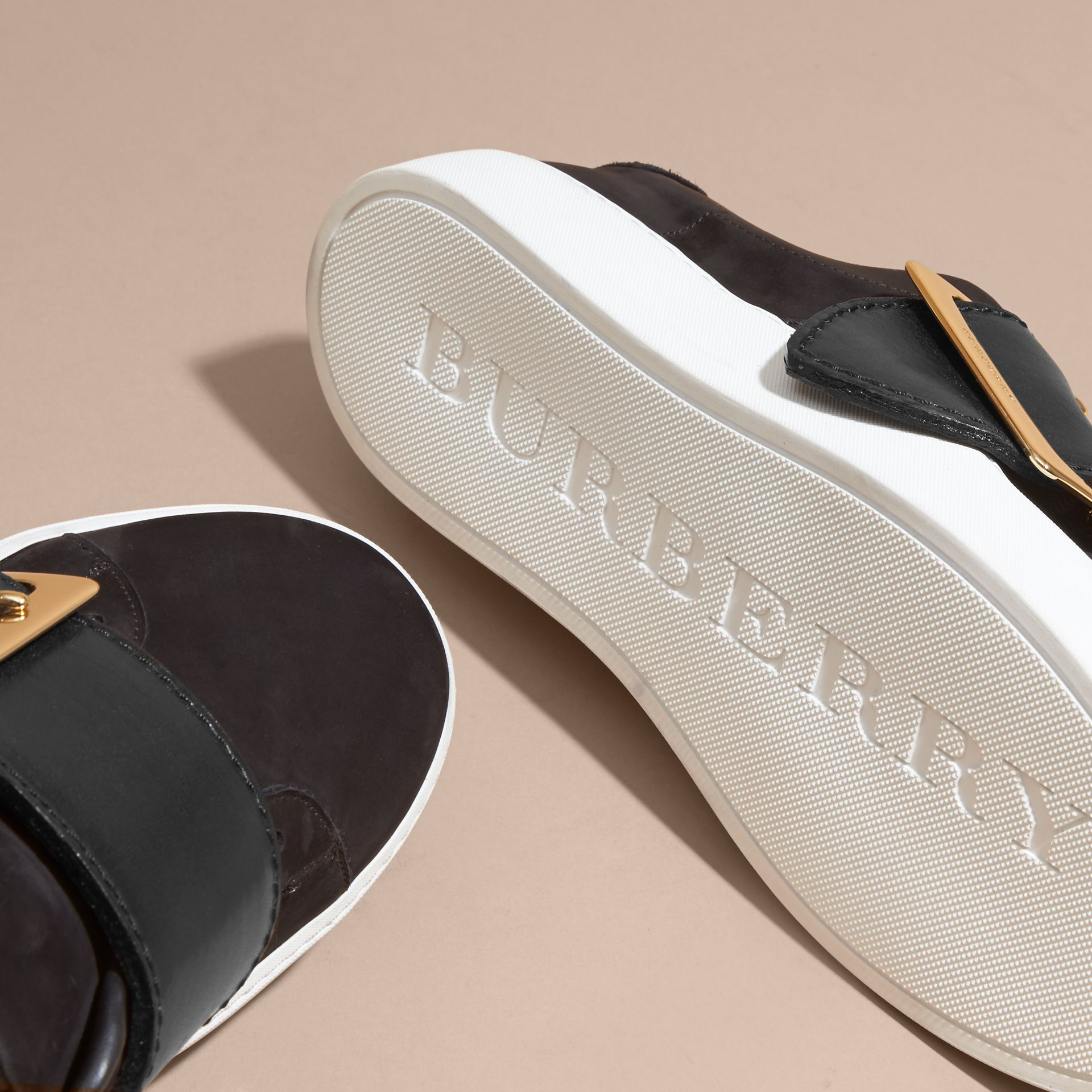 Oversize Buckle Detail Suede and Leather Trainers - gallery image 5