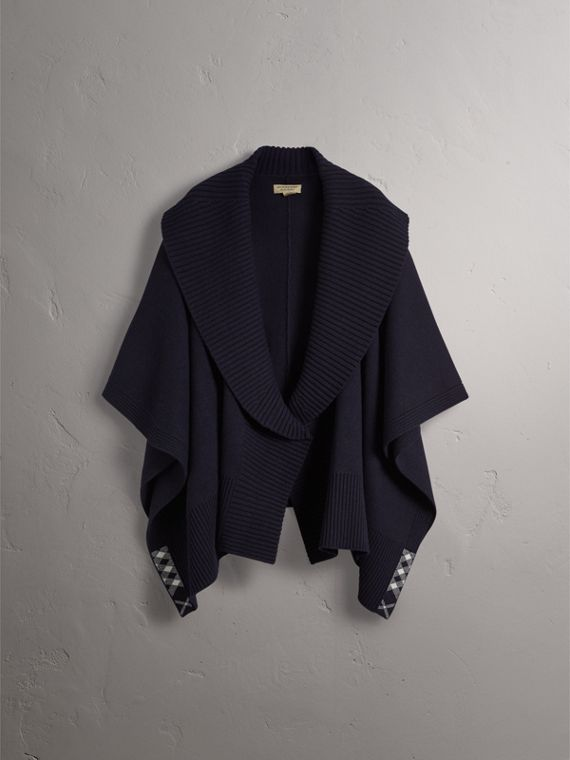 Shawl Collar Wool Cashmere Poncho in Indigo - Women | Burberry - cell image 3
