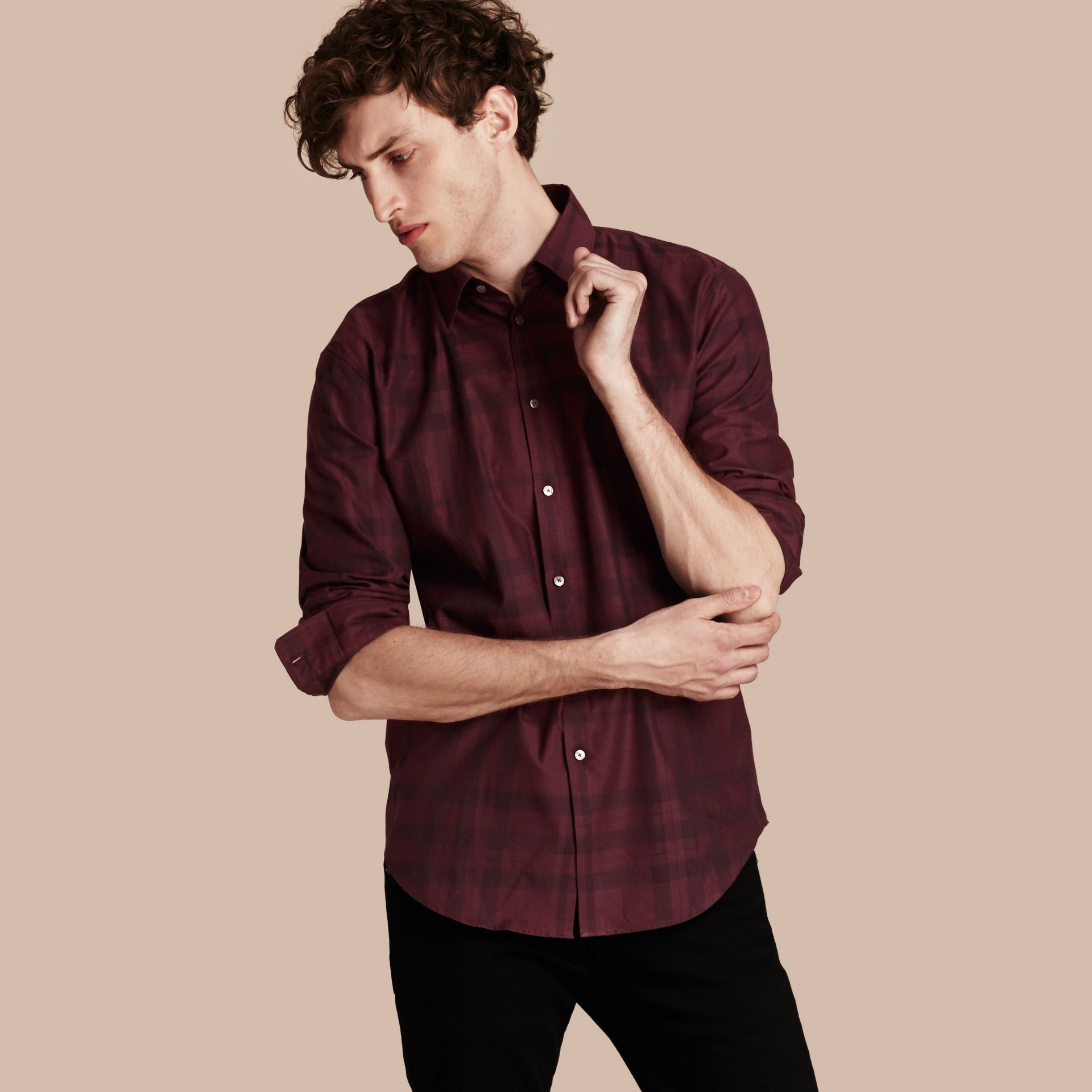Deep burgundy Check Cotton Flannel Shirt Deep Burgundy - gallery image 1