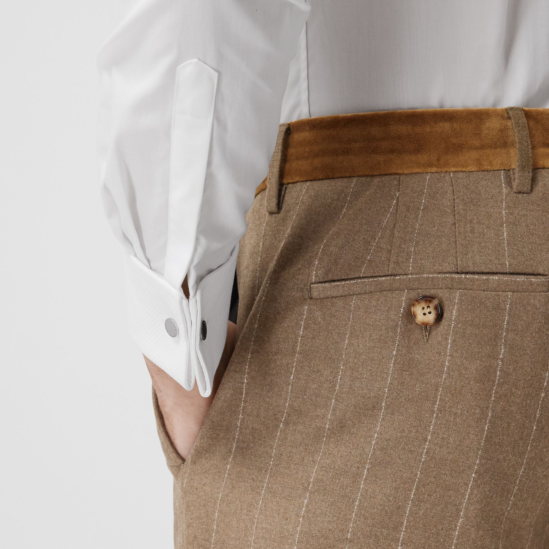 Classic Fit Velvet Trim Wool Cashmere Trousers in Dark Tan - Men | Burberry Australia - gallery image 1