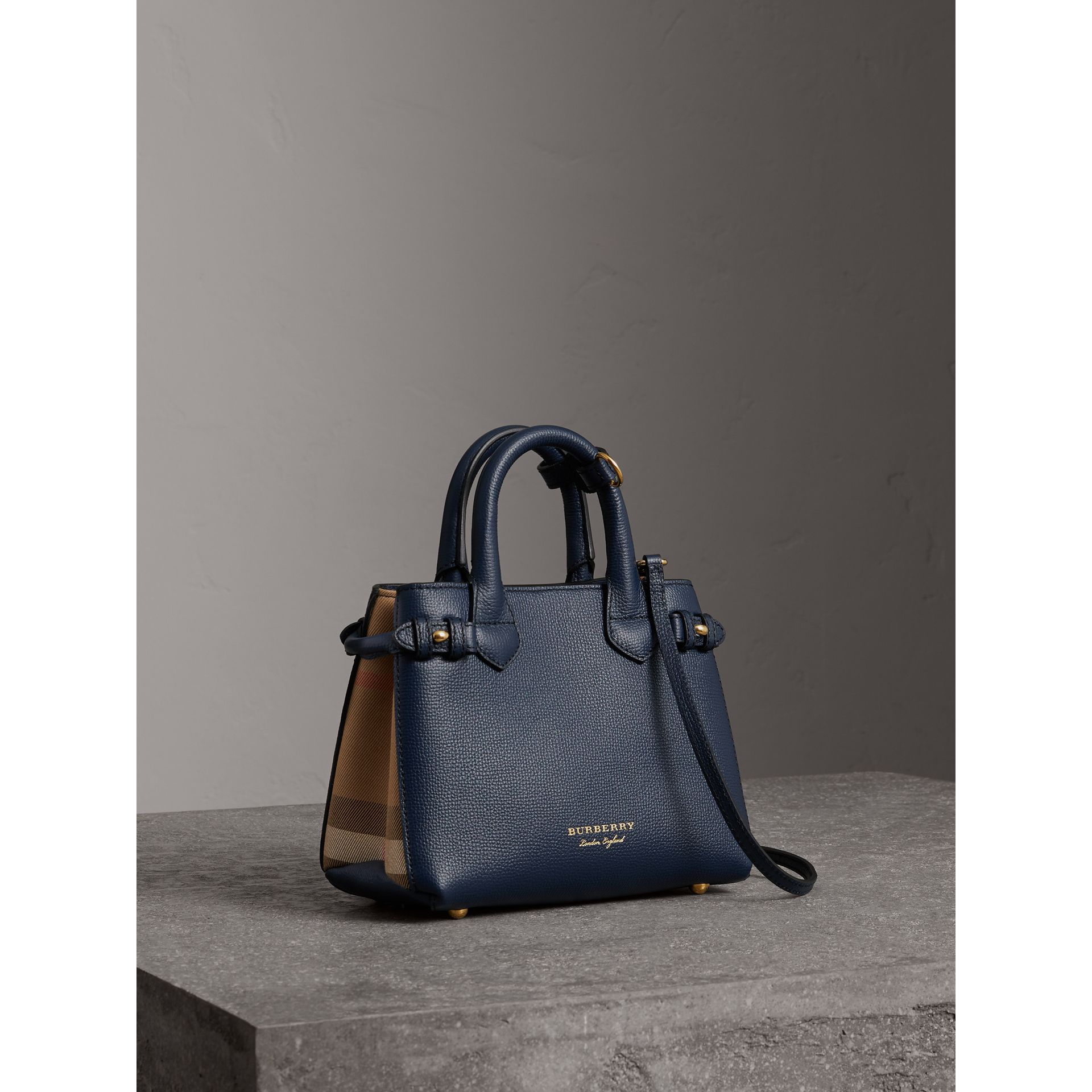 The Baby Banner in Leather and House Check in Ink Blue - Women | Burberry United States - gallery image 0