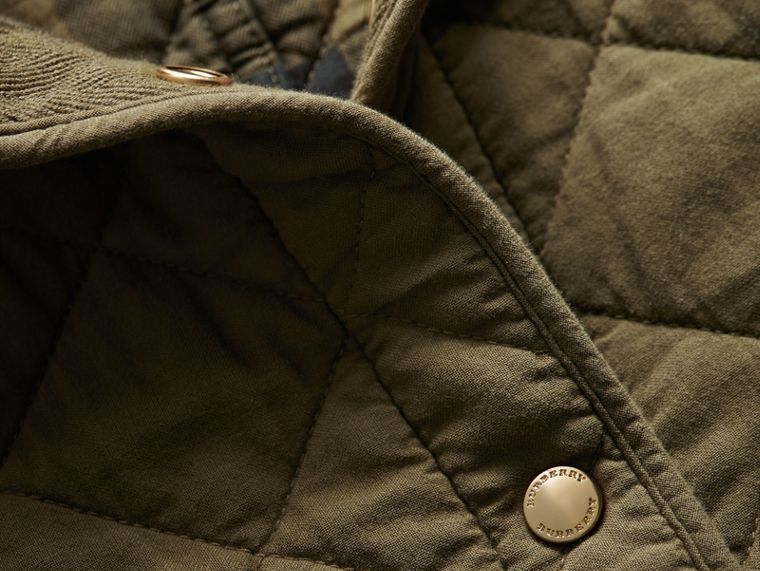Scalloped Diamond Quilted Cotton Jacket in Olive - Women   Burberry - cell image 1