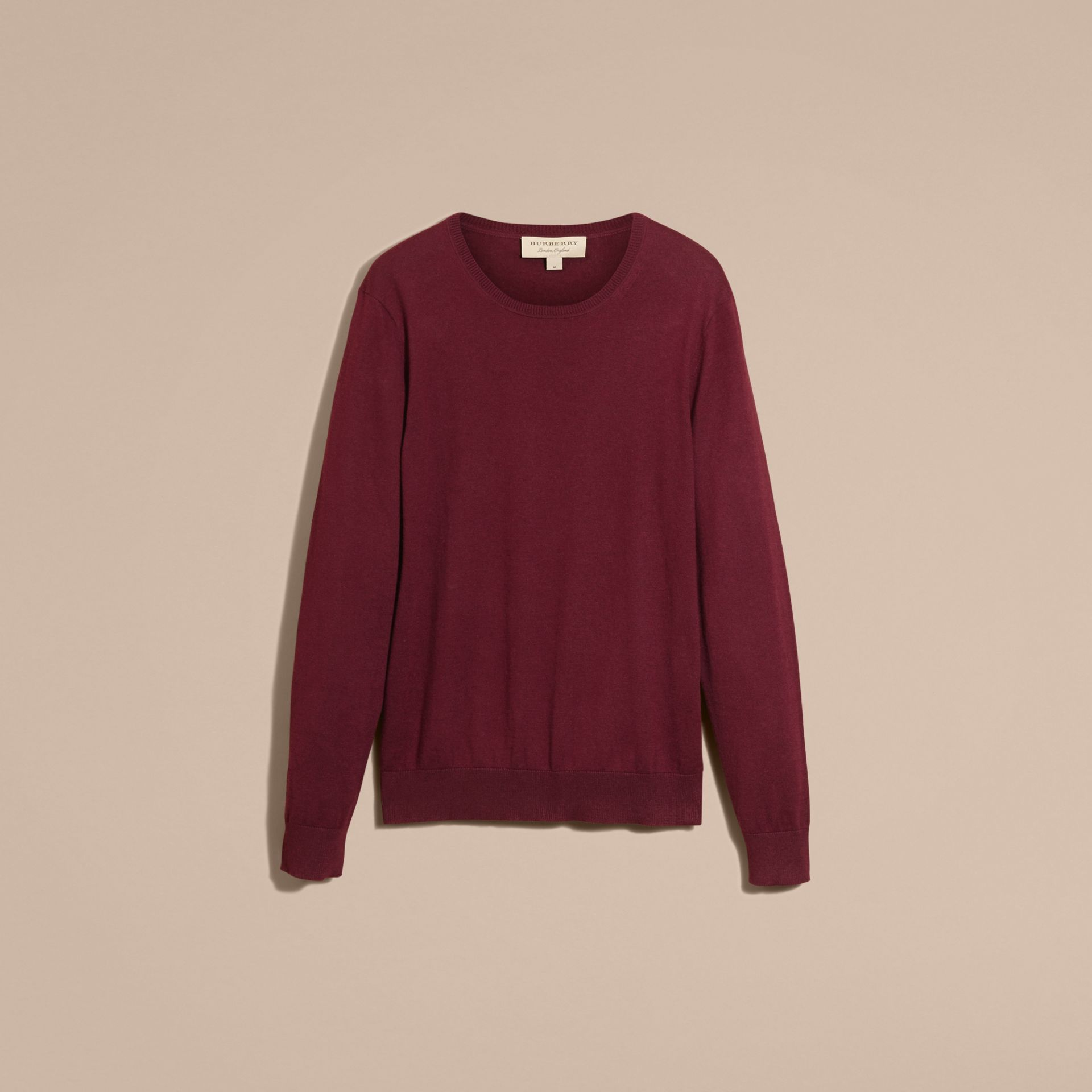 Check Trim Cashmere Cotton Sweater Claret - gallery image 4