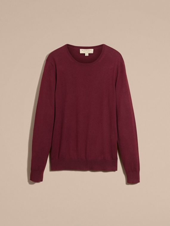 Check Trim Cashmere Cotton Sweater Claret - cell image 3