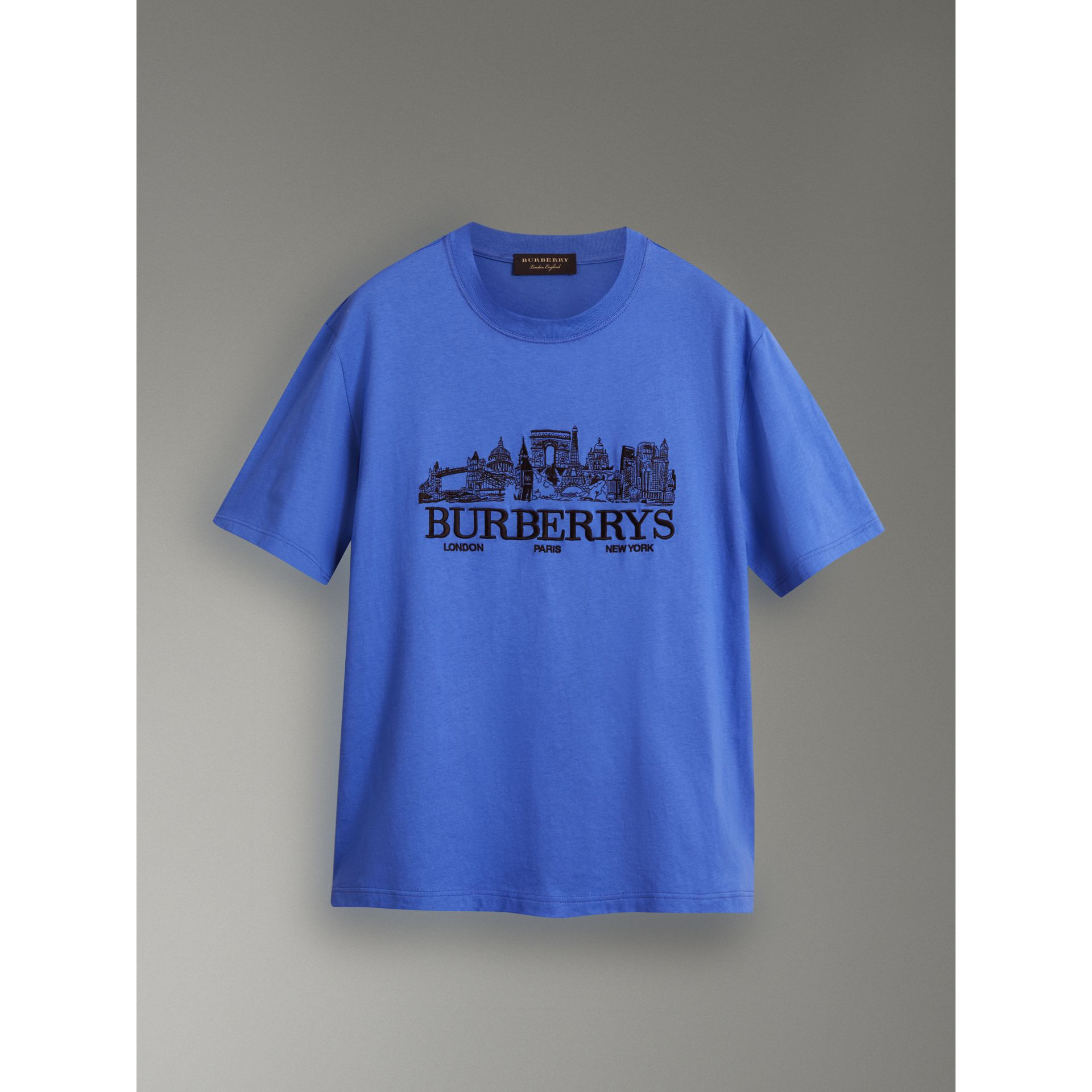 T-shirt en coton revisité (Bleu Barbeau) - Homme | Burberry Canada - photo de la galerie 3