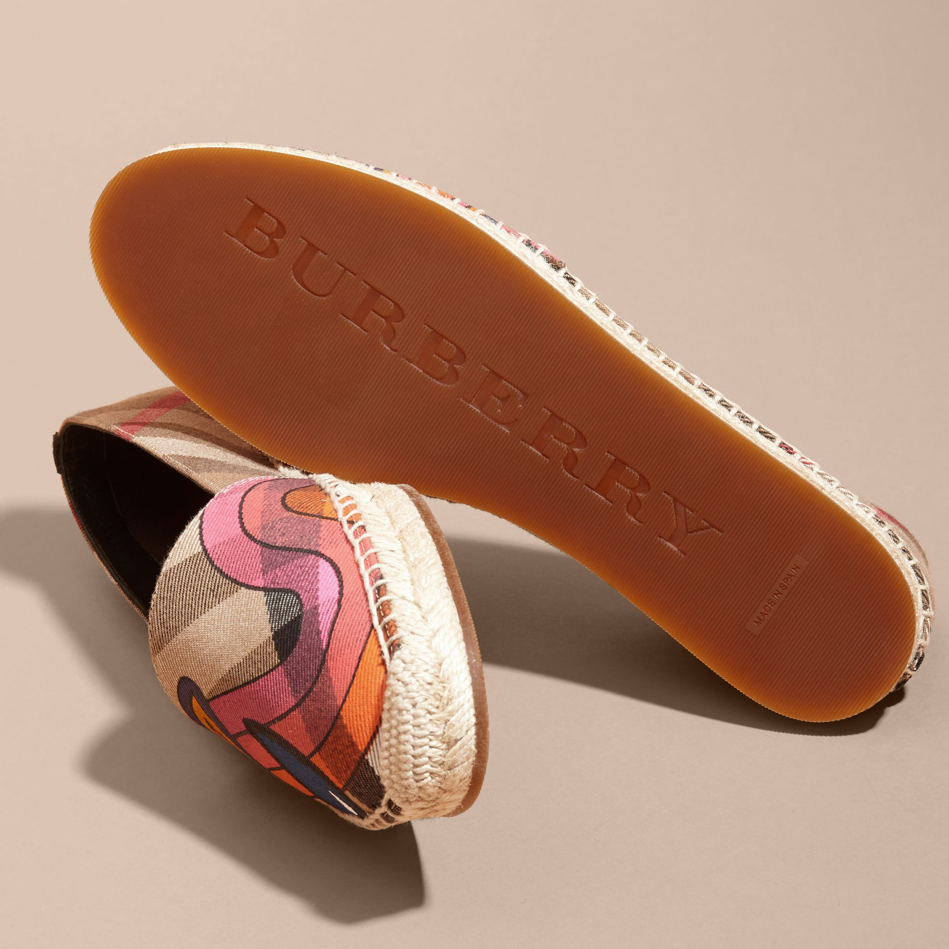 Rainbow Graphic Print Canvas and Suede Check Espadrilles - gallery image 5