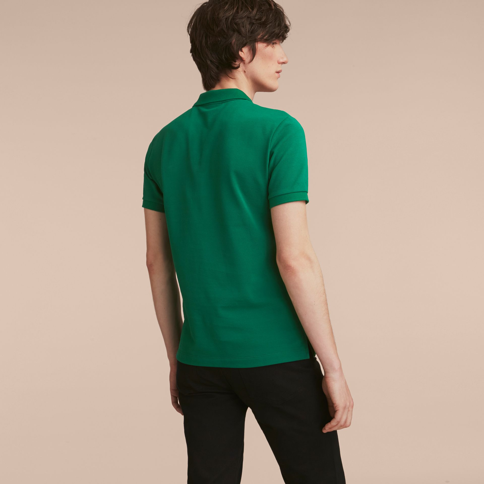 Geometric Motif Cotton Piqué Polo Shirt with Check Placket Bright Bottle Green - gallery image 3