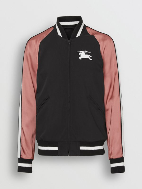 EKD Logo Nylon Varsity Jacket in Black - Men | Burberry - cell image 3