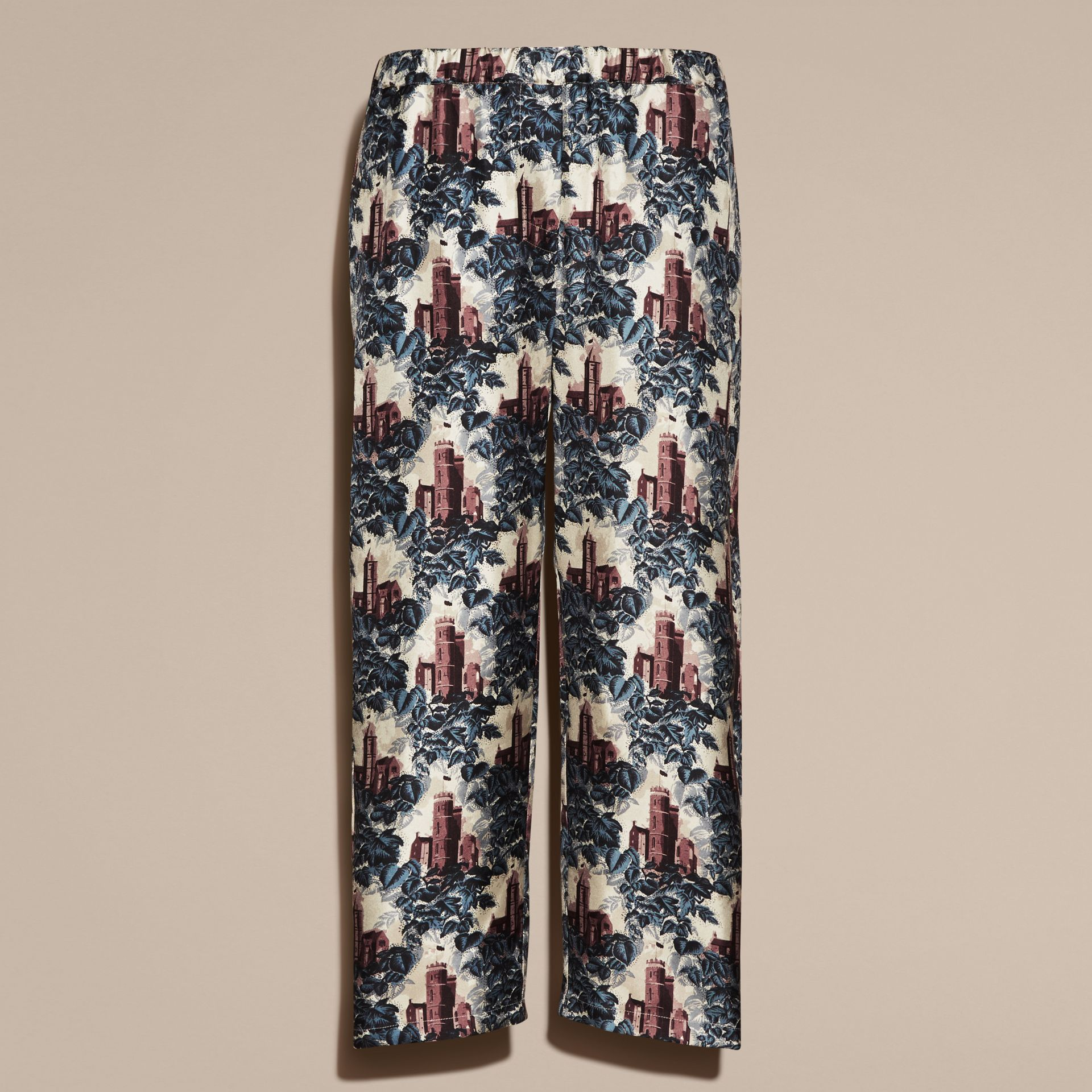 Airforce blue Castle Print Silk Twill Cropped Pyjama-style Trousers - gallery image 4