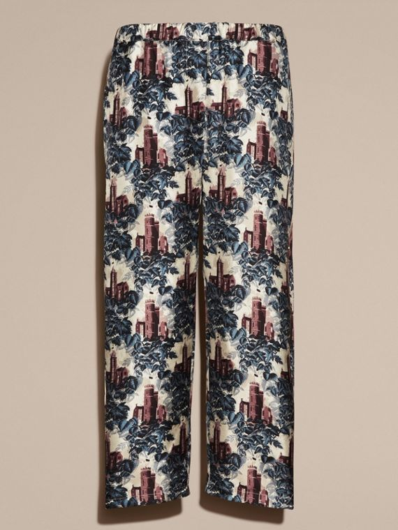 Airforce blue Castle Print Silk Twill Cropped Pyjama-style Trousers - cell image 3