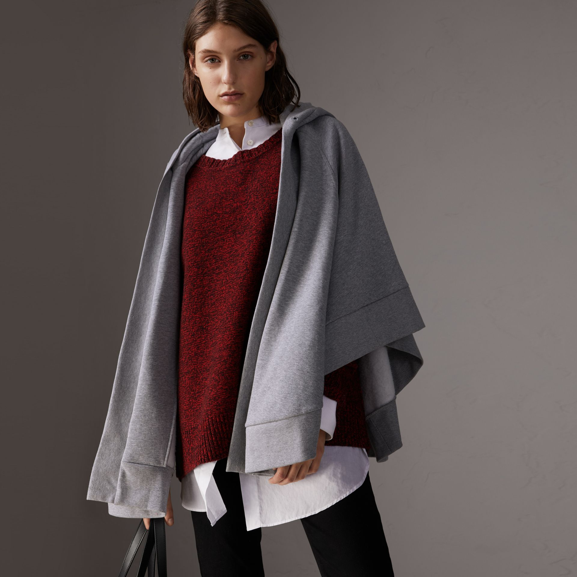 Embroidered Jersey Hooded Cape in Pale Grey Melange | Burberry United Kingdom - gallery image 0
