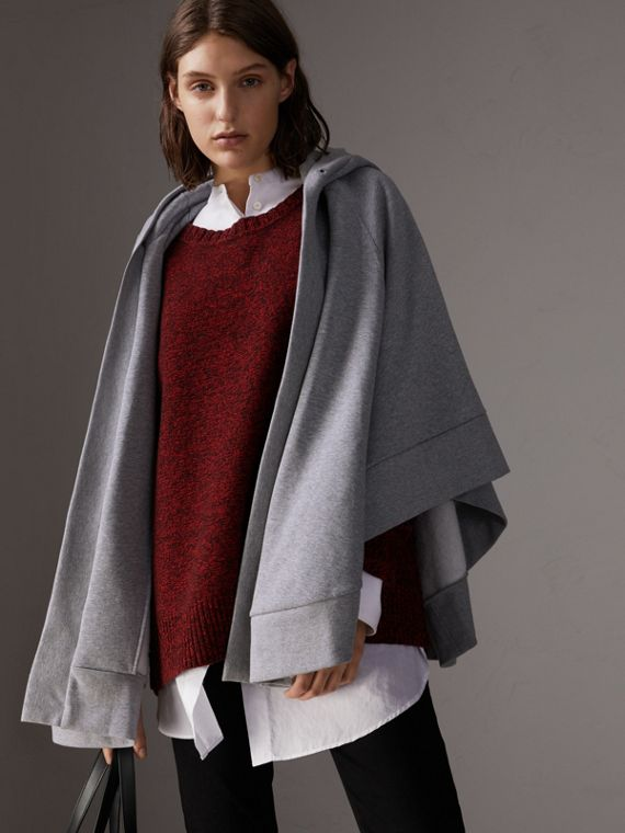 Embroidered Jersey Hooded Cape in Pale Grey Melange