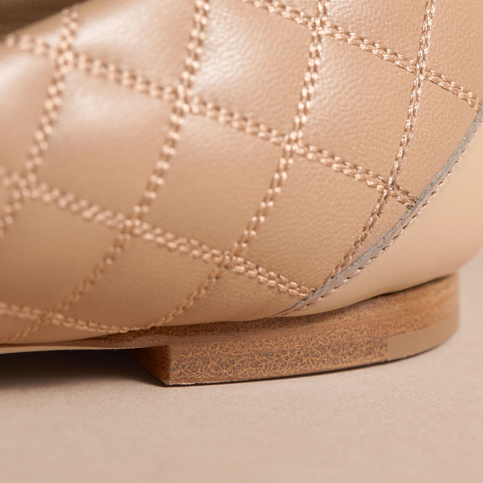 Buckle Detail Quilted Lambskin Leather Ballerinas in Honey - Women | Burberry - gallery image 5