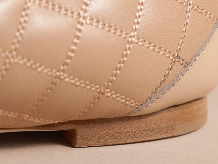 Buckle Detail Quilted Lambskin Leather Ballerinas in Honey - Women | Burberry - cell image 4